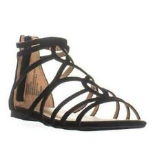 Material Girl Womens Sira Faux Suede Caged Strappy Sandals