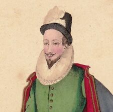 Portrait Couleur XIXe Anne de Joyeuse Baron d'Arques Amiral Marine Henri III