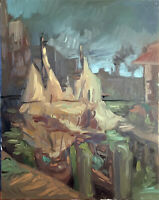 """Nautical Boat Cityscape Abstract Original Oil Painting 16""""x20"""" Signed on Canvas"""