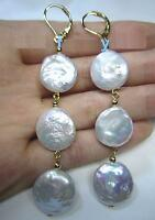 NEW HUGE AAA 14-15MM SOUTH SEA WHITE DANGLE PEARL EARRING 14K YELLOW GOLD