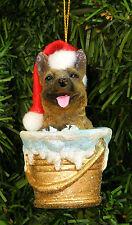GERMAN SHEPHERD PUP IN BATH BUCKET/PALE WEARING SANTA HAT DOG CHRISTMAS ORNAMENT