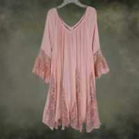 Plus Size Vintage Peasant BOHO GYPSY Pink Laced Ruffle DRESS TUNIC XL 1XL 2XL