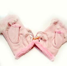 Fingerlose mit Futter Handschuhe Handstulpen Winter warme Fäustlinge Rosa Damen