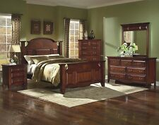 Queen Size Bed Room Furniture Set 4pc Traditional Look European Glide System