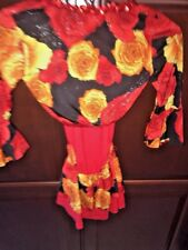 A WISH COME TRUE girls dance costume Captivated red sequin floral 2 piece 6X RB2