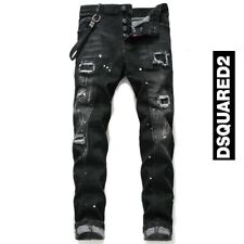 New Dsquared2 Black Personality Patch Jeans Slim Fit Men's DSQ2 Washed Denim