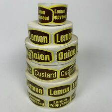 6 Rolls Bakery Food Packaging Retail Stickers Labels Yellow Brown Grocery