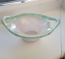 VINTAGE VASART HANDLED  ART GLASS BOWL .