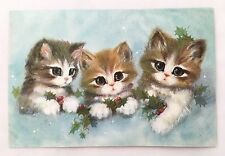 Unused Vintage Christmas Card Cute Big Eyed Kittens Shiny Gold Detail Holly Cat