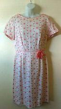 Vtg 50's Embroidered Daisy Dress Pink & White Size M Vintage Rockabilly VLV