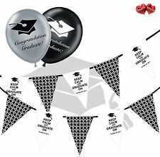 Bundle of Pug in Hat Bunting Banner 15 flags and 5 Graduation latex balloons