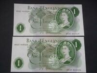 J S FFORDE 1967 PAIR ONE POUND NOTES,UNCIRCULATED AND CONSECUTIVE,DUGGLEBY B301.
