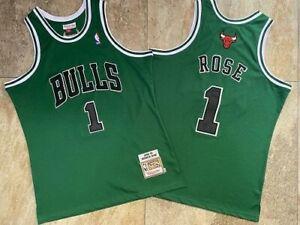 1# Derrick Rose 08-09 Chicago Bulls Hardwood Classics Swingman Jersey Green