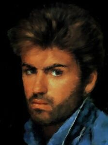 George Michael portrait painting in acrylic on canvas by Brian Tones