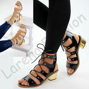 New Womens Block Heel Sandals Ankle Lace Up Peep Toe Strappy Summer Comfy Shoes