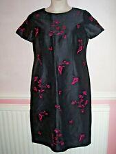 Viyella Black with Pink Embroidery Jacket & Matching Sheath Dress Size 12