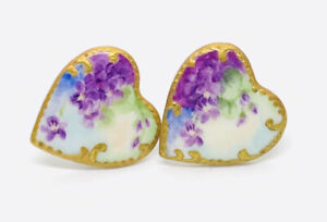 1800s Hand Painted 2 Porcelain RARE Heart Shaped Vintage Cuff Stud Buttons