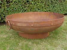 Iron steel Large Fire Pit with 2 Handles Large Rusty Fire pit Outdoor brazier