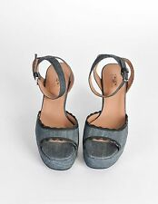 Alaia Paris shoes couture Denim Leather Wedge Sandals No100 New in box size 8 41