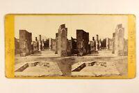 Italia Pompei Casa Di Pansa c1870 Archeologia Foto Stereo Vintage Albumina