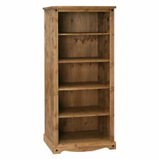 Premium Corona Large Open Bookcase Display Unit - Waxed Mexican Pine