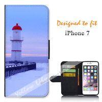 For Apple iPhone 7 Wallet Flip Phone Case Cover Lighthouse Jetty Y00975