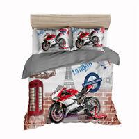 White Motorbike Quilt Duvet Doona Cover Set Single/Double/Queen/King Bed Linen