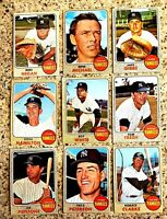 Lot of 9 1968 Topps NY YANKEES vintage cards Joe Pepitone, Roy White, Tom Tresh