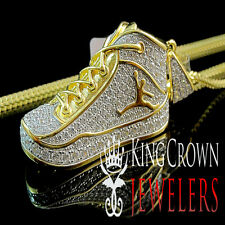 Mens 10k Yellow Gold Silver Simu Diamond Jumpman Jordan Shoe Pendant Charm Chain