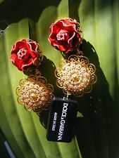DOLCE & GABBANA* ROSES Floral EARRiNGS Made in Italy Authentic! Rare!