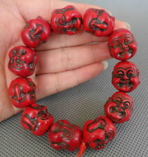 Chinese Handwork Red Coral Carve Smile buddha Buddhism Bless Bracelet