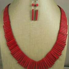 stick beads necklace/earring set/(y251-w2) Gradual size red howlite stone