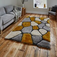 Shaggy Pile Pebble Effect Noble House Rug Large Centre Piece Mat Grey Yellow 120cm X 170cm