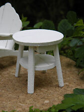 Miniature Dollhouse FAIRY GARDEN Furniture ~ Rustic White Wood Adirondack Table