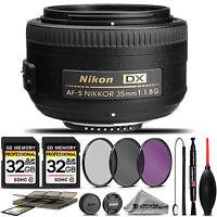 Nikon AF-S DX NIKKOR 35mm f/1.8G Lens 2183 +3PC FILTER + 64GB STORAGE BUNDLE KIT