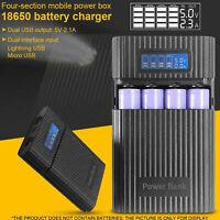 4 Steckplätze Digitalanzeige Mobile Power Schnellladung USB 18650 Ladegerät