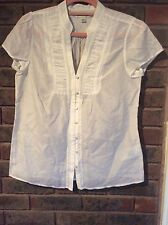 NWOT Women Banana Republic White Short Sleeve Shirt/M