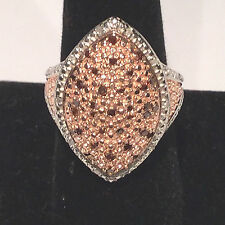 NEW! 1/2 Ct Red Diamond Halo Ring, 14K Rose Gold & Platinum, SS .925 Size 8