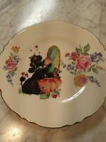 "Vintage Look Posh Poodle Decorative Plate rhinestones 9"" boudoir fancy ooak🐩"
