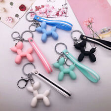 Cute Cartoon Keychain Key Ring Soft Rubber Ball Dog Bag Colorful Pendant Jewelry