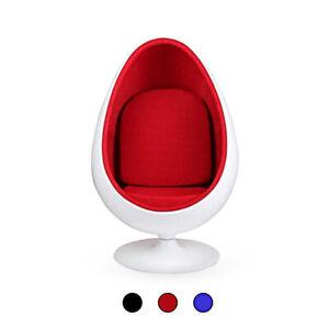 Retro Egg Pod Chair Swivel Chair White Fiber-Reinforced Plastic Black Red Blue