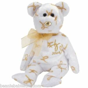 Ty Beanie Baby Babie * 2004 SIGNATURE White and Gold *  Annual Teddy Bear 40158