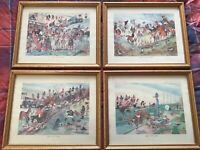 Vintage gilt framed set of comical horse riding prints