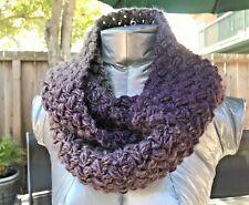 NECK WARMER INFINITY SCARF COWL Handmade Crochet Purple Eggplant Taupe Heathered