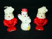 (3) Vintage GURLEY CANDLES - CHRISTMAS : 2 SANTA CLAUS & a SNOWMAN