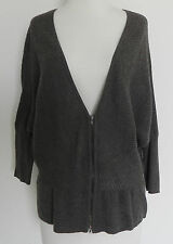 Eileen Fisher Cardigan Sweater Bat-wing 3/4 Sleeve 100% Wool Size L Brown/Grey