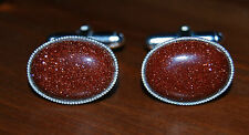 Brown Goldstone 18X13MM Cabochon Gemstones in Silver Plated Cufflink Backs.