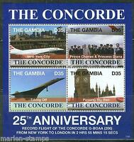 GAMBIA 2013 THE CONCORDE 25th ANNIVERSARY OF THE RECORD FLIGHT SHEET MINT NH