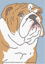 Crochet Patterns - ENGLISH BULL DOG Graph/Chart Afghan Pattern