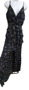 Misguided Tall Floral Tierred Chiffon Feel Maxi Dress Size UK8